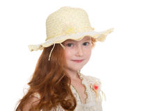 Pretty little girl in a hat Stock Images