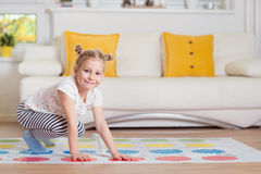 Pretty little girl have fun playing exciting game Royalty Free Stock Images