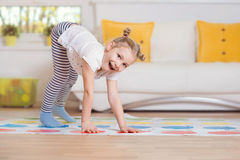 Pretty little girl have fun playing exciting game Royalty Free Stock Image