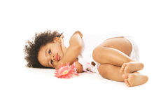 Pretty little girl having a rest. On white Royalty Free Stock Images