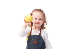 Pretty little girl holding apple isolated on white Stock Images