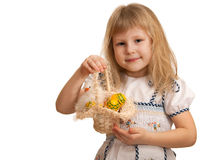 Pretty little girl holding Easter basket Stock Images