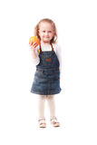 Pretty little girl holding an orange isolated on white Royalty Free Stock Images