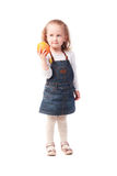 Pretty little girl holding an orange isolated on white Stock Image