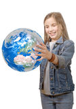 Pretty little girl holding the Planet Earth Stock Image
