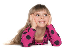 Pretty little girl imagines Royalty Free Stock Image