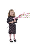Pretty Little Girl In Party Dress With Flowers Royalty Free Stock Image