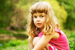 Pretty Little Girl In Spring Royalty Free Stock Photo