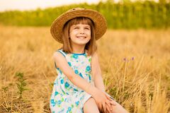 Free Pretty Little Girl In Straw Hat And Dress Walk In Summer Field. Sunny Day Royalty Free Stock Photo - 195060505