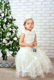 Pretty little girl  near the new year tree Stock Photo