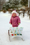 Pretty little girl near sled (sleigh). Stock Photo