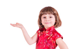 Pretty little girl with one hand outstretched Stock Images