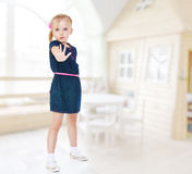 Pretty little girl opping Stock Photo