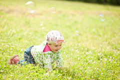 Pretty little girl outdoors Royalty Free Stock Photos