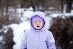 Pretty little girl in the park, winter Stock Photography