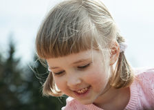 Pretty little girl with pigtails Stock Images