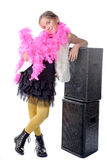 A pretty little girl with a pink feather boa Royalty Free Stock Photos