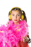 A pretty little girl with a pink feather boa Stock Photo