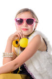 A pretty little girl with pink glasses Stock Photo