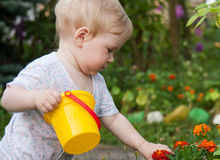 Pretty little girl playing  in a garden Stock Photography