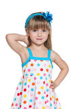 Pretty little girl in polka dot dress Royalty Free Stock Photo