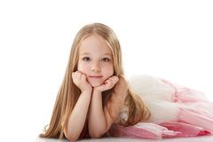 Pretty little girl posing looking at camera stock photos