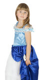 Pretty little girl in princes costume on the white background Royalty Free Stock Photos