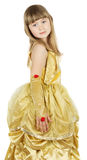 Pretty little girl in princess costume on the white background Royalty Free Stock Photography