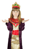 Pretty little girl in queen costume on the white background Stock Photo