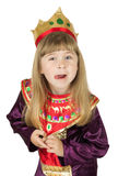 Pretty little girl in queen costume on the white background Royalty Free Stock Image