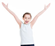 Pretty little girl raised her hands up. Royalty Free Stock Image