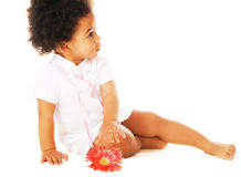 Pretty little girl reaching for flower royalty free stock image