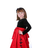 Pretty little girl in red and black holiday dress Stock Images