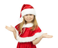 Pretty little girl in Santa Claus costume on the white backgroun Stock Photo