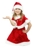 Pretty little girl in Santa Clause costume on the white backgrou Royalty Free Stock Image