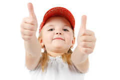 Pretty little girl showing thumbs up Royalty Free Stock Photography