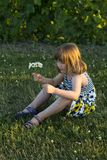 Pretty little girl sitting in lawn holding a small bouquet of wildflowers stock images