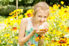 Pretty little girl smelling a yellow summer flower Royalty Free Stock Photography