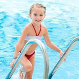 Pretty little girl in swimming... Royalty Free Stock Images