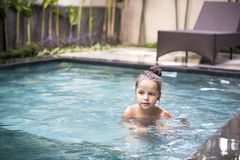 Pretty little girl in swimming pool Royalty Free Stock Photography