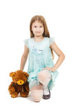 Pretty little girl with teddy bear isolated Royalty Free Stock Photo