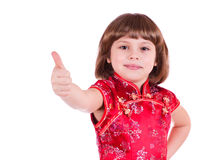 Pretty little girl, thumbs up Royalty Free Stock Image
