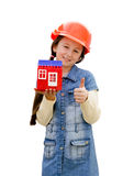 Pretty little girl with the toy house Stock Photo