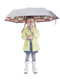 Pretty little girl with umbrella. Isolated on white background smiling child Royalty Free Stock Photo