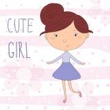 Pretty little girl vector illustration Stock Images