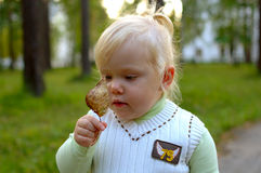 Pretty little girl walk in the park. Royalty Free Stock Photo