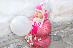 Pretty little girl with white balloon. Royalty Free Stock Photography