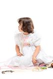 Pretty little girl in white dress Royalty Free Stock Images