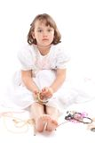 Pretty little girl in white dress Stock Image