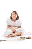 Pretty little girl in white dress Royalty Free Stock Photography